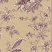 Moda Ville Fleurie by French General - 4733 - Beauvais, Plum Floral on Pale Beige   - 13760 15 - Cotton Fabric